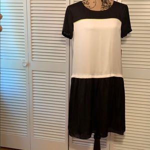 Vince Camuto black and white color block dress